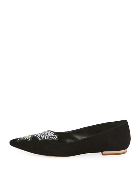 Talulah Butterfly Suede Flat, Black/Pastel