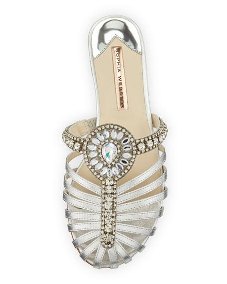 Iridessa Satin Crystal Flat Slide Sandal