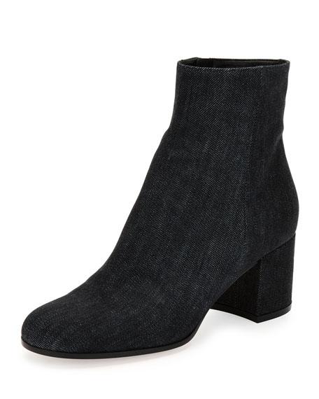 Gianvito Rossi Margaux Denim Block-Heel Ankle Boot, Black