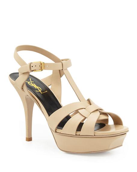 Tribute Mid-Heel Leather Platform Sandal
