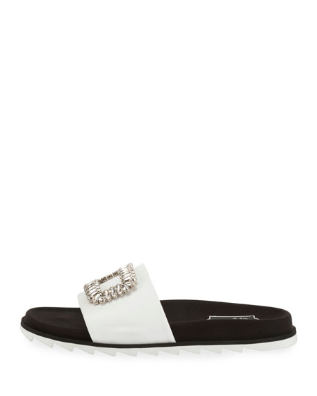 Slidy Viv Strass Buckle Flat Sandals, White