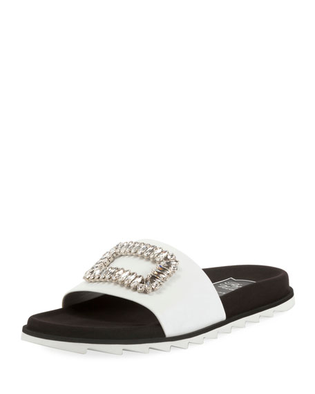 Roger Vivier Slidy Viv Strass Buckle Flat Sandals,