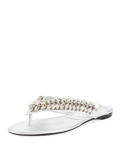Jeweled Slide Flat Sandal, Silver