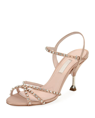 Jeweled Strappy Suede Sandal