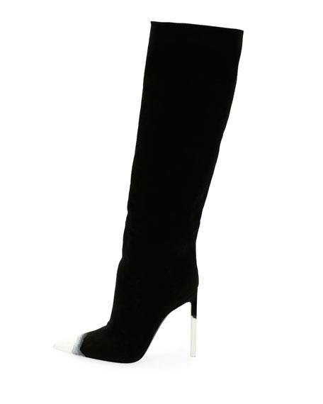 Knee-High Canvas 105mm Boot, Dark Blue