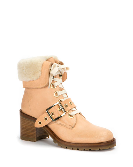 Kay Shearling Lace-Up Boot