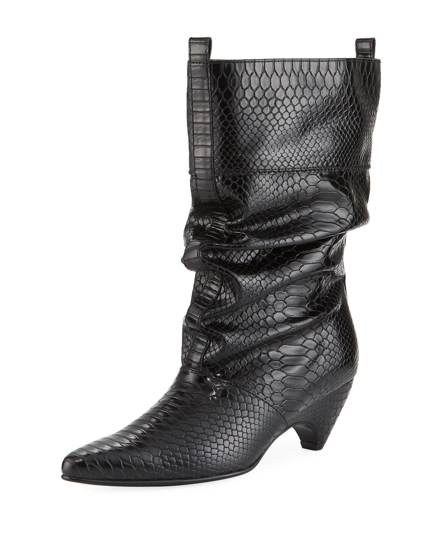 6a537f8f475 Stella McCartney Runway Snake-Embossed Boot
