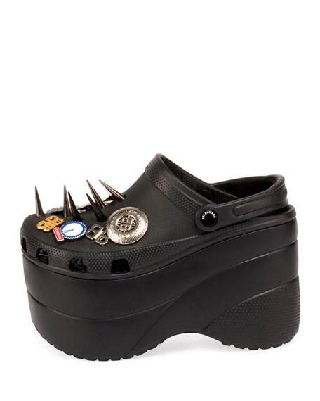 Embellished Platform Spike Texture Clog, Black