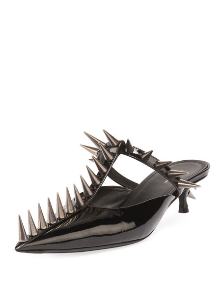 Balenciaga KnifeKnife Patent Spike 110mm Mule, Black