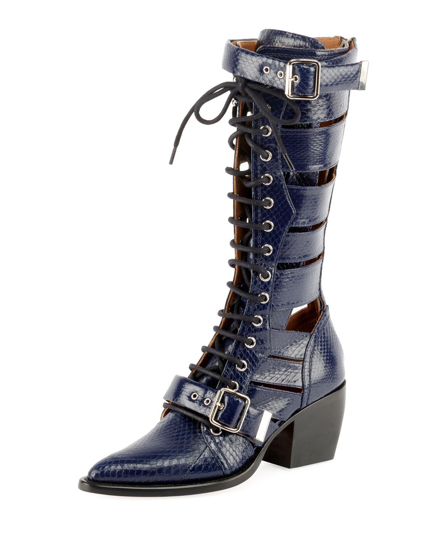 Chloe Rylee Knee High Snakeskin Boot Stormy Night