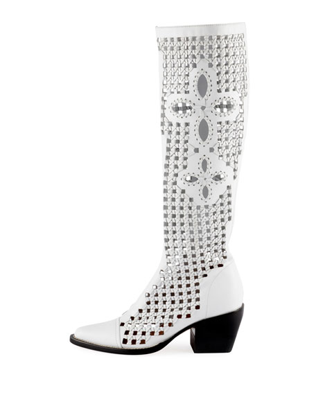 Rylee Knee-High Woven Boot, White