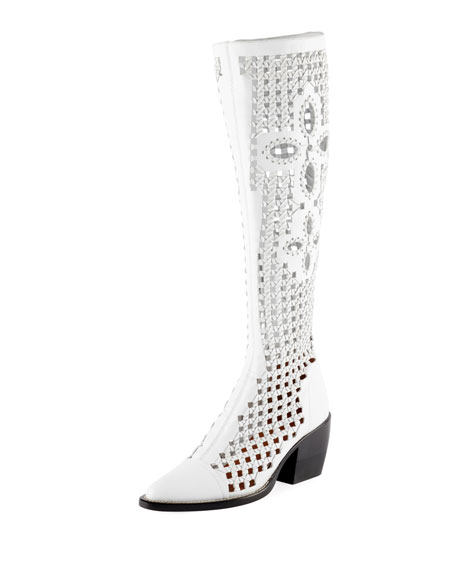 Chloe Riley Knee-High Woven Boot, White