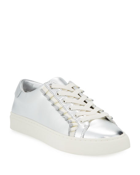 Tory Sport Ruffle Metallic Leather Low-Top Sneaker