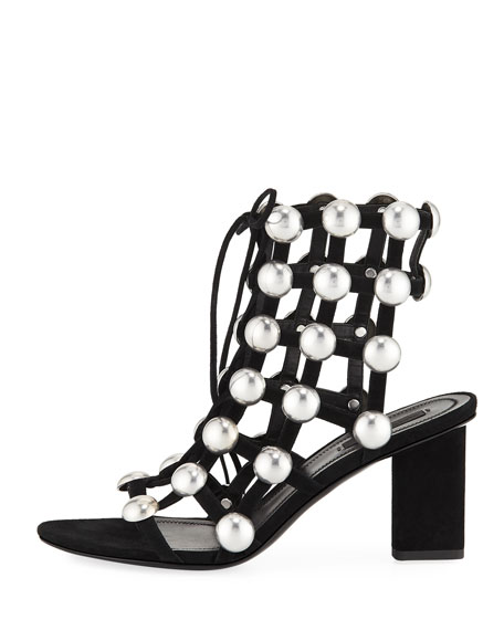 Rainy Caged Studded Ankle-Tie Sandal