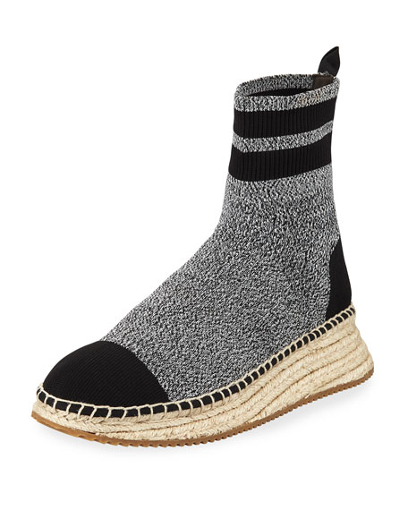 Dylan Knit Wedge Espadrille Sneakers, Black/Grey