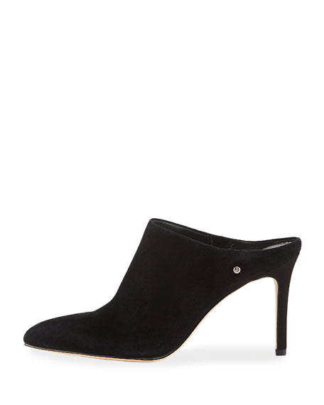 Oran Suede Point-Toe 85mm Mule Pump, Black