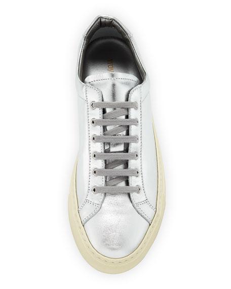 Achilles Retro Low-Top Metallic Sneakers, Silver