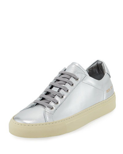 Achilles Retro Low-Top Metallic Sneakers, Silver