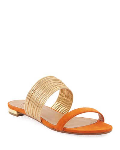 Metallic Two-Tone Flat Slide Sandals