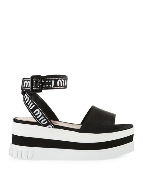 Satin Platform Chunky-Wedge Sandal