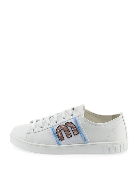Leather Sneakers with Logo Patch
