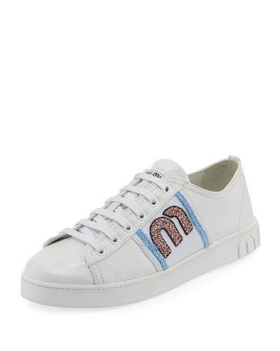 Leather Sneaker with Logo Patch