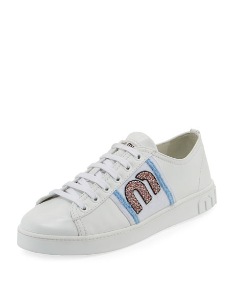 Miu Miu Leather Sneaker with Logo Patch