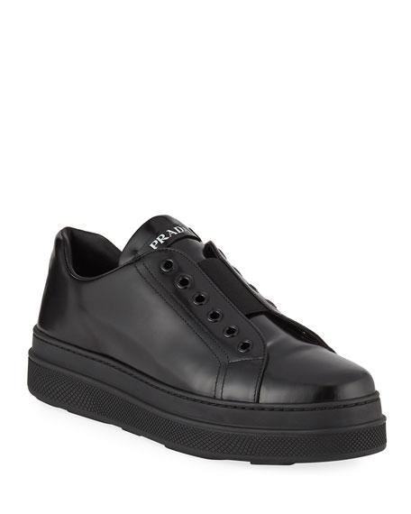 Prada Leather Slip-On Low-Top Sneaker