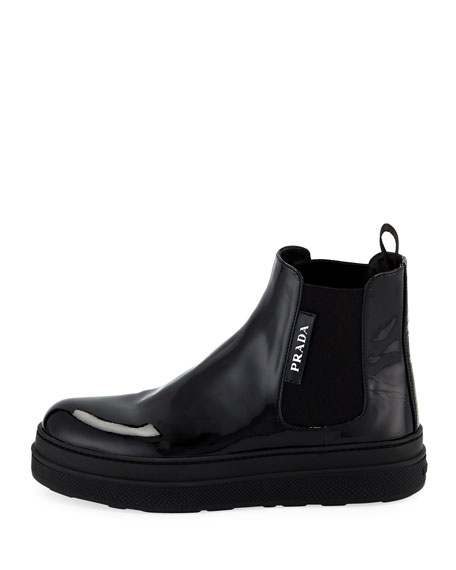 Patent Leather Gored Bootie Sneaker