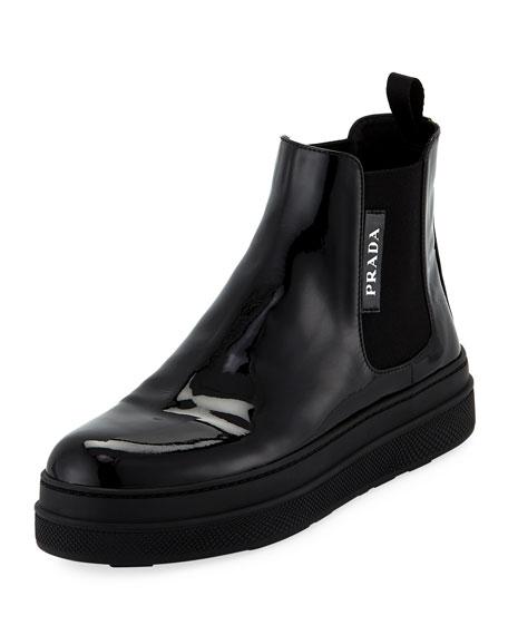 Prada Patent Leather Gored Bootie Sneaker