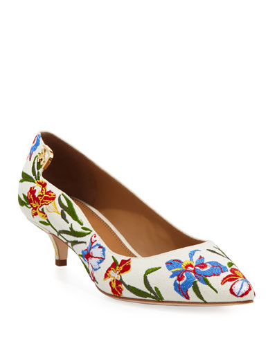 1e55545110d Tory Burch Elizabeth Floral-Embroidered Pump