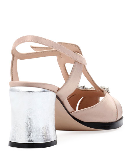 Chameleon Jeweled Satin Block-Heel Sandal