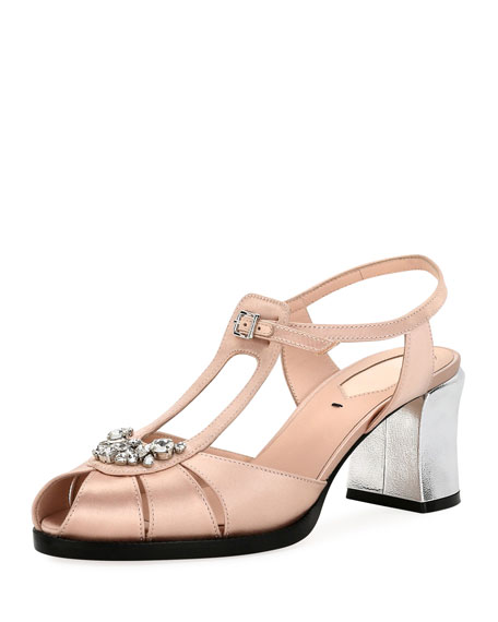 Fendi Chameleon Jeweled Satin Block-Heel Sandal
