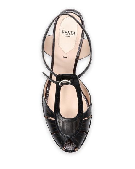 Chameleon Leather Block-Heel Sandal