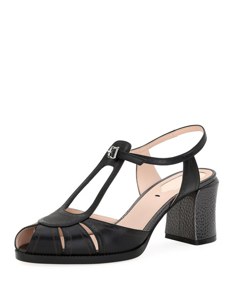 Chameleon Leather Block-Heel Sandal