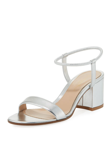 Gianvito Rossi Metallic Leather Stretch Ankle-Wrap Sandal