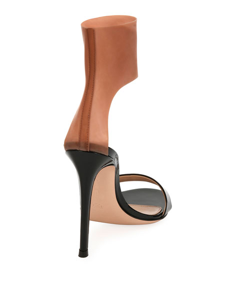 Patent and Latex Two-Tone Sandals, Black