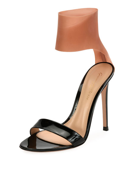 Gianvito Rossi Patent and Latex Two-Tone Sandals, Black
