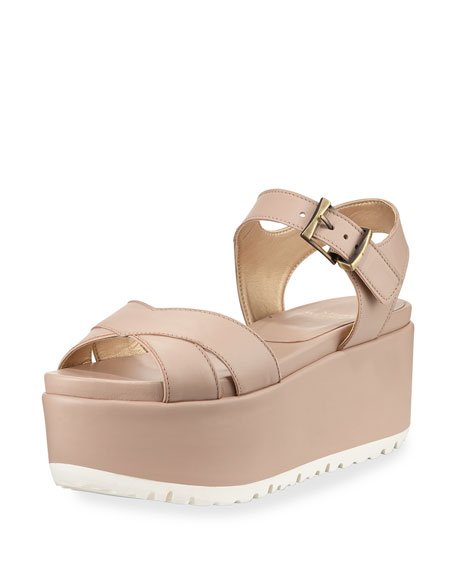 Stuart Weitzman Crosspath Platform Leather Sandal, Adobe