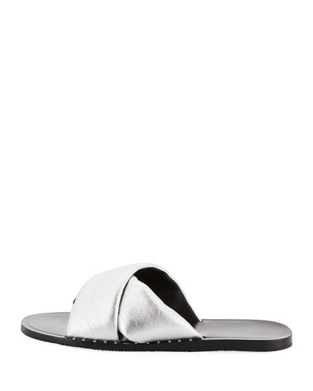 Keaton Metallic Flat Slide Sandal