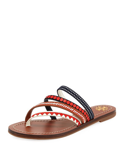 Patos Embroidered Slide Sandal