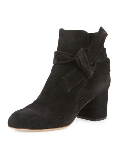 Dalia Suede Ankle-Tie Bootie, Black