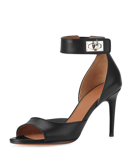 Givenchy Leather Shark-Lock Naked Sandal, Black