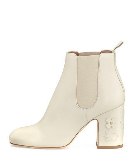 Mia Floral-Appliqué Leather 85mm Chelsea Boot