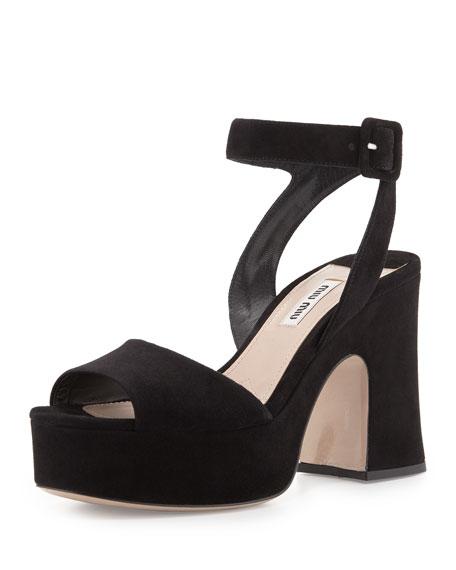 Miu Miu Suede Platform Ankle-Wrap Sandal