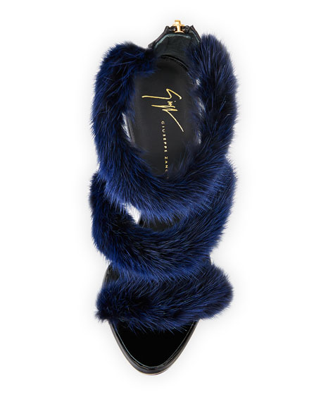 Strappy Mink Fur 110mm Sandal