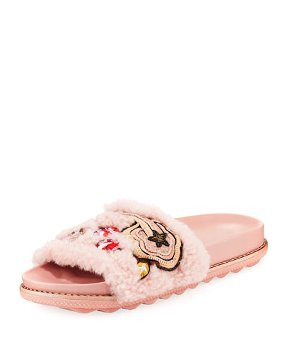 Cherries and Shearling Slide Sandal