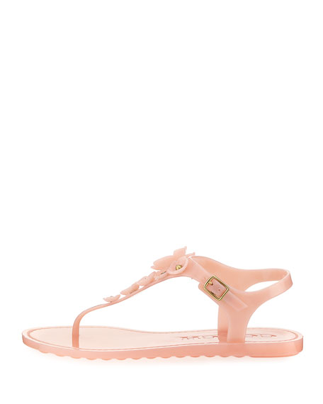 Tea Rose Jelly Flat Sandals, Peony