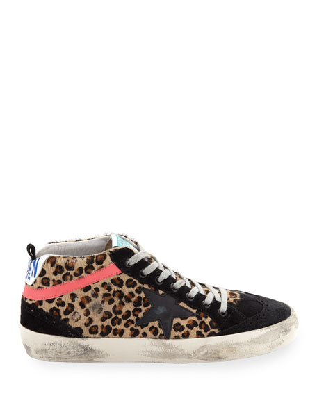 Mid-Top Leopard Calf Hair Sneakers