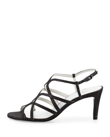 Turningup Strappy Glitter Sandal, Black